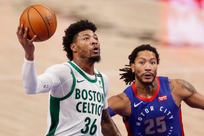 Boston Celtics guard Marcus Smart (36) was expected to make his return from a torn left calf, Thursday, when the Celtics opened the second half of the NBA season against the Brooklyn Nets. Smart missed 18 games due to the injury.