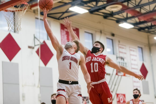 Canisteo-Greenwood's Cole Ferris puts in a finger-roll for two of his 16 points in Tuesday's sectional win over Red Jacket.