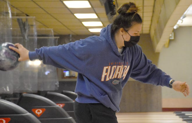 Alexis Garrison makes her approach while competing for Herkimer College during a Thursday, Feb. 25, 2021, virtual bowling match at the State Bowling Center in Ilion.