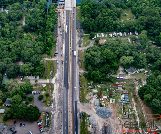 This is an aerial photo of part of the ongoing $60 million project to widen Florida A1A/200 near Loftin Creeek in Yulee