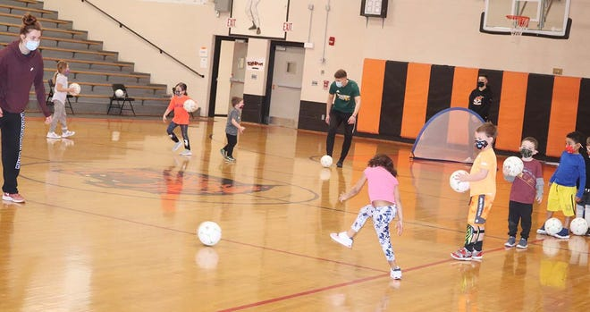 Some of the city's youngest athletes participated in drills while learning the basic skills of soccer during a Monday evening session of the Gardner Recreation Department's youth soccer camp inside Gardner High's LaChance Gymnasium.