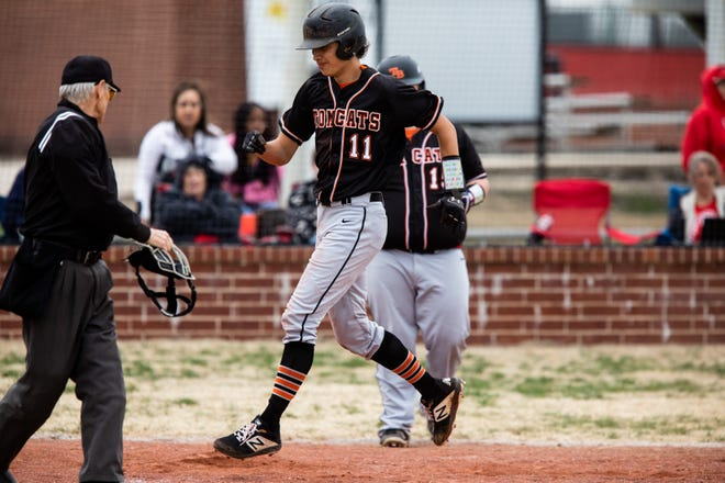 Tom Bean's Owen Langford scores during the Tomcats' victory over Trenton in the District 11-2A opener.