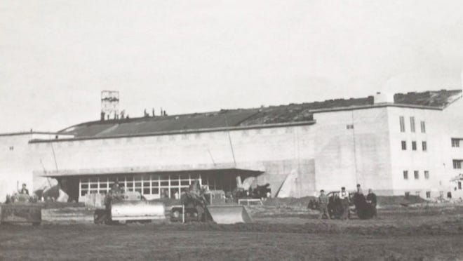 A bond issue was approved to construct a $994,000 field house named the Sports Arena in 1951, shown under construction here.