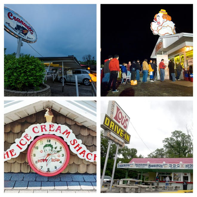 Clockwise from upper left: Cranwill's Rootbeer Stand and Drive-In, 1713 S, Second St., Pekin; Emo's Dairy Mart, 3618 N. Prospect Road, Peoria; Lou's Drive-In, 4229 N. Knoxville Ave., Peoria; and The Ice Cream Shack, 2313 NE Adams St., Peoria.