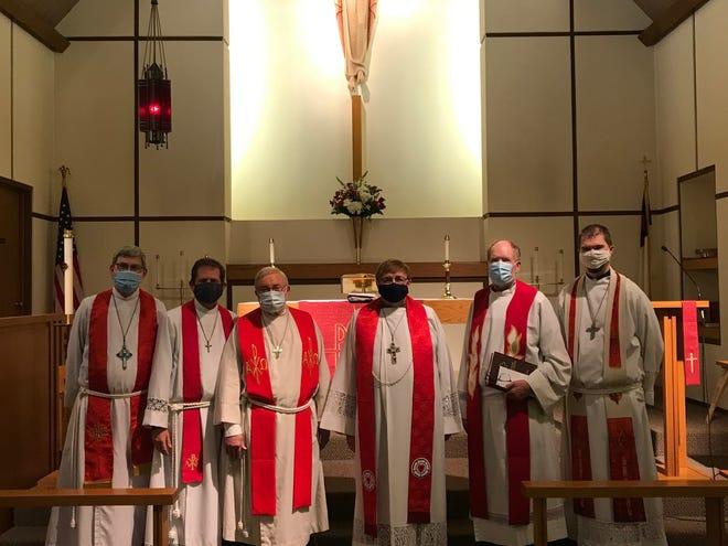 The Lutheran Church of Our Redeemer installed the Rev. Willis Schwichtenberg on Jan. 20. Pictured, from left, the Revs. Michael Nesbit, Dan Behmlander, Rick L. Bader, Willis Schwichtenberg, David Anderman and Mark Winkelman.
