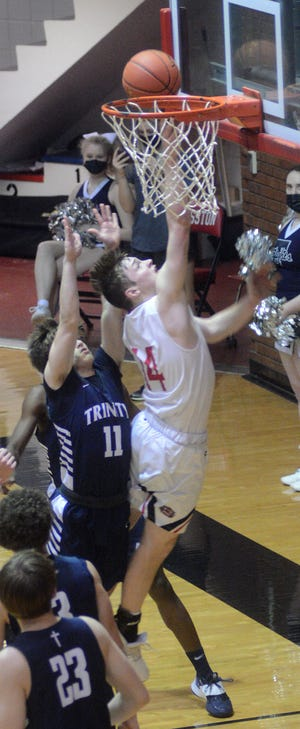 Hesston junior Cason Richardson scored 28 points Tuesday in a 55-47 win over Wichita Trinity Academy in the Class 3A state quarterfinals.
