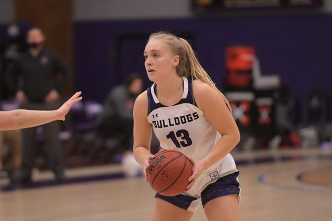 Truman sophomore guard Hannah Belanger competes during a GLVC Tournament game against Maryville.