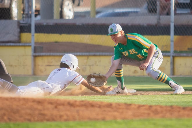 New Deal's Kyler Reed (9) attempts to tag Hawley's Robert Ybarra (1). New Deal played Hawley in the 2A Regional Finals on Thursday, May 31, 2018, at Moffet Baseball Field in Snyder, Texas. [Jay Crain/A-J Media]