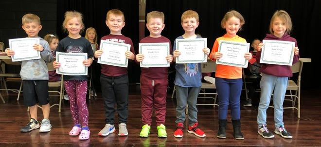 Kindergarten:  Jaxon Coil, Braylee Crawford, Keegan Johnson, Wyatt Mathes, Hudson Hills, Clare Edwards, Olivia Naught and Nova Bowen (not pictured).