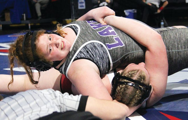 Camdenton freshman Clara Rathmann looks to finish a match with a pin fall victory on Tuesday, March 9 at Cable Dahmer Arena in the 2021 MSHSAA Wrestling Championships.