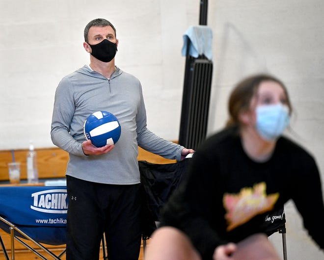 Hopedale volleyball coach Chris Ridolfi watches his players during practice in the Draper Gymnasium, March 10, 2021.