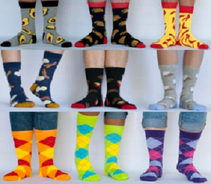 Some pairs of socks being sold by Medway Friends of Performing Arts to support the organization.