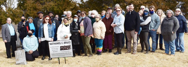 About 40 persons attended a special memorial dedication ceremony Feb. 28 at the Dalton Cemetery to honor Nathaniel C. Bruce, founder of the former Bartlett Agricultural and Industrial School in 1907. The school name was later changed to Dalton Vocational School before it closed in 1956. Chariton County Historical Society was in charge of this project and ceremony.