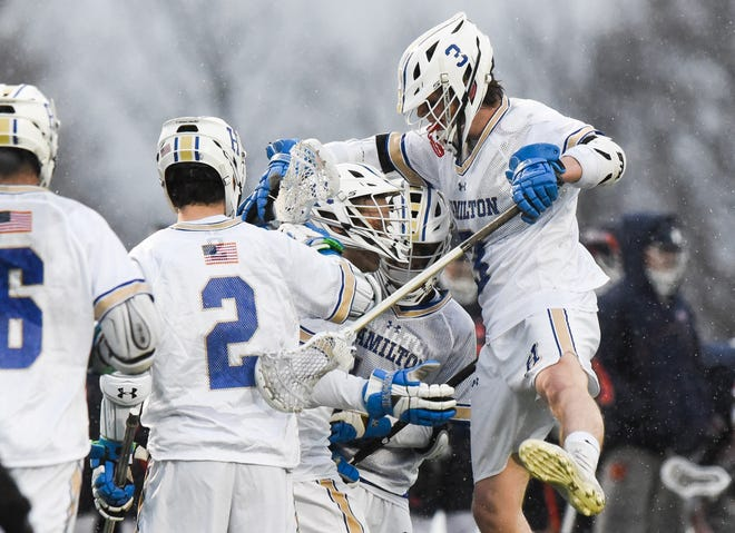 Hamilton College participates in a lacrosse game March 3, 2020. The season was halted soon after because of coronavirus concerns. Hamilton College is set to participate in the spring season with an abbreviated New England Small College Athletic Conference schedule beginning in April. The school didn't participate in fall or winter seasons.