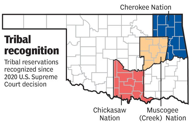Map showing the Cherokee, Chickasaw and Muscogee (Creek) nation boundaries in Oklahoma.