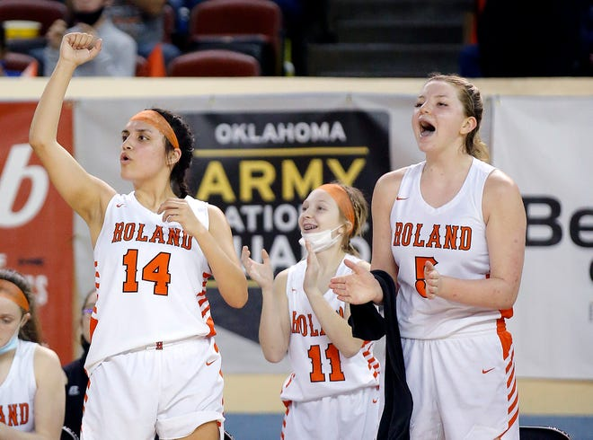 Roland's Racheal Watie (14), Addison Cole (11) and Jaiden Conaway (5) celebrate during a Class 3A state quarterfinal against Valliant at State Fair Arena on Wednesday.