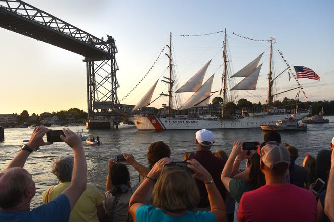 The USCGC Eagle approaches the Memorial Bridge in Portsmouth Harbor during Sail Portsmouth 2019. [Deb Cram/Seacoastonline and Fosters.com]