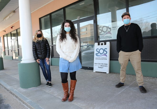 SOS Recovery Community Organization staffers at their new home at Signal Street in Rochester are, from left, Bethany Reardon, Mary Boisse and Kyle Semrau.