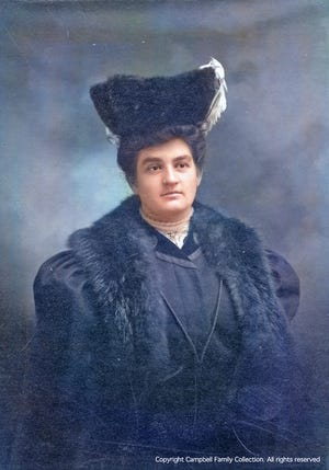 The only known formal portrait of Sarah Porter Campbell of New Castle, colorized by the author. It was Sarah's family who owned prime New Castle real estate. Sarah and her husband Charles were the original managers of the Wentworth Hotel that opened in 1874, and she was likely related to its major investor Daniel Chase, who quickly went bankrupt and sold the hotel to Frank Jones in 1879.