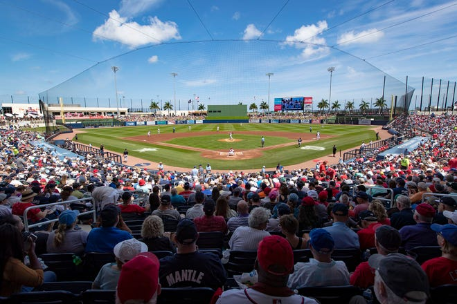 There were a spring-high 8,043 fans at Ballpark of the Palm Beaches to watch the Nationals host the Yankees a year ago. The next day, MLB canceled the rest of spring training.