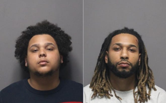 Isiah Allen,left, and Chevin Gobern, have been charged with reckless driving, obstructing a police officer and disorderly conduct following an incident in Cranston Tuesday involving some 60 ATV and dirt bike riders.