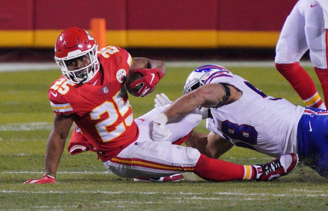 Bills linebacker Matt Milano takes down Chiefs quarterback Patrick Mahomes in the AFC Championship Game. Milano is set to become a free agent.