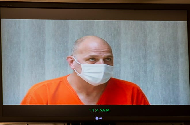 Patrick Boggs appears before Judge Melissa Roubic via video for arraignment.