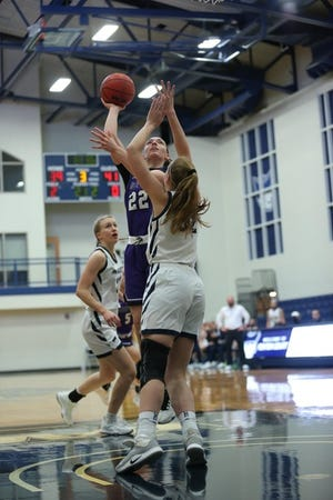 Mount Union's Brianna Gassman (22) made the All-Ohio Athletic Conference Women's Basketball Team for the first time