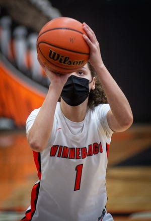 Winnebago's Miyah Brown shoots a free throw during the BNC girls championship game on Tuesday, March 9, 2021, in Winnebago. Brown made 4 of her 5 fourth-quarter free throws and the Indians beat Rock Falls, 48-40.