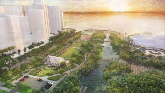 "A three-dimensional image of Phase 1 of the bayfront park shows a one-acre lawn between a restored bayou and Boulevard of the Arts, with a small food pavilion looking west to a ""sunset boardwalk."""