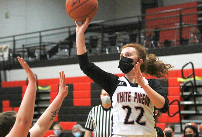 White Pigeon's Bailee Freedline puts up a runner against Decatur on Tuesday night.