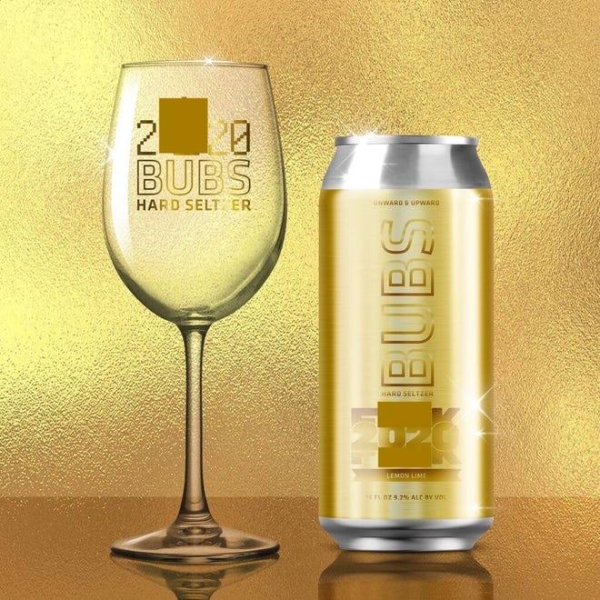 A rendering of a can and glass for F--- 2020 BUBS hard seltzer, which Sycamore Brewing of Charlotte, NC, planned to produce for this past New Year's Eve celebrations. It was never made because state regulators nixed the name and label.
