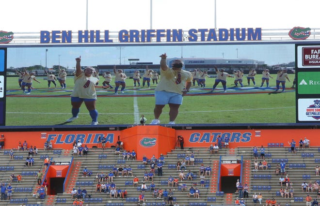 The virtual Mr. 2 Bits in the return of college football at Ben Hill Griffin Stadium as Florida played South Carolina on Oct. 3, 2020, in front of limited attendance due to COVID-19 safety protocols.
