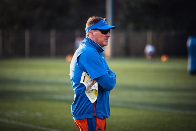 Florida coach Dan Mullen sees the Gators' defense improving for the 2021 season.