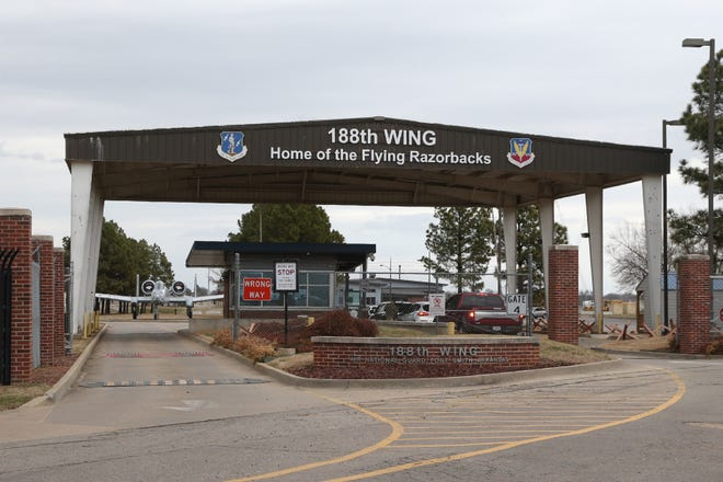 The entrance to the Arkansas Air National Guard base, as seen, Wednesday, March 10, in Fort Smith. Military officials and Singaporean dignitaries surveyed the airbase and the city Monday and Tuesday.