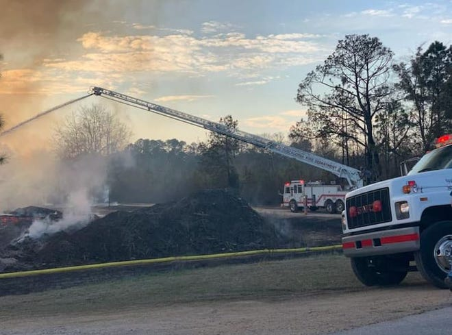 Tuscaloosa Fire Rescue units and hazmat team went to Bibb County on Tuesday, March 9, 2021, to assist in the firefighting efforts at Cahaba Pallet in Centreville.
