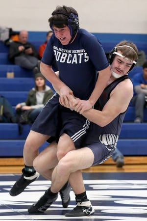 Senior 195-pounder David Winegarner (right) went 6-6 this season for the Whitehall-Yearling wrestling team. The Rams had two Division I district qualifiers in junior Shea Jordan and freshman Mikey Park.