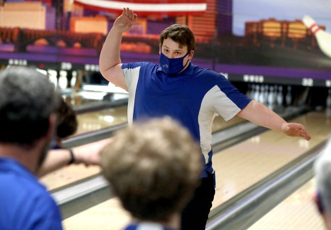 Bradley's Zander Dietz reacts after rolling a strike in the Division I state tournament March 6 at Wayne Webb's Columbus Bowl. The Jaguars finished 13th.
