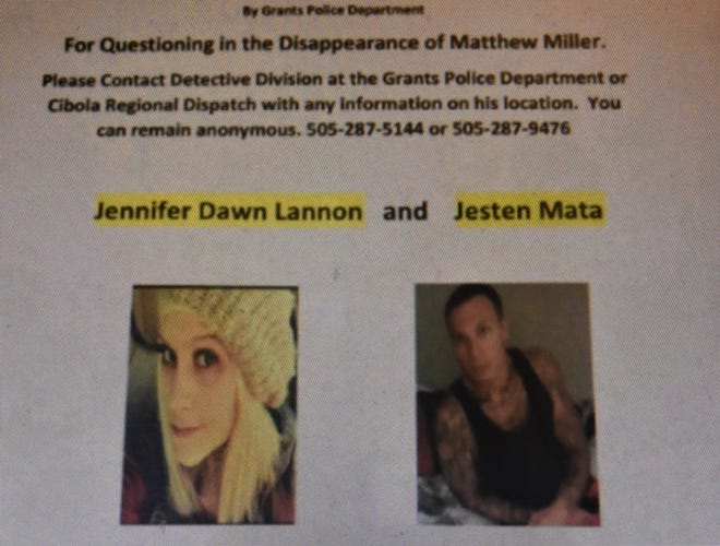 A Feb. 10 Facebook post from Grants, N.M., police sought Jennifer Lannon and Jesten Mata for questioning about a missing man, Matthew Miller.