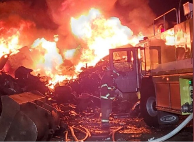 A large fire was burning Tuesday night at the D+S Auto Salvage on OH-125 in Hamersville, dispatchers said.