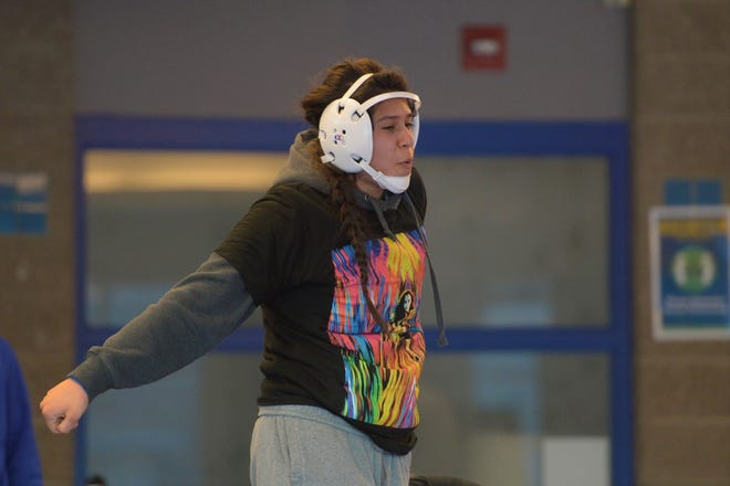 Poudre wrestler Isabel Delgado during practice on Monday, March 8, 2021 before the first CHSAA girls wrestling state tournament.