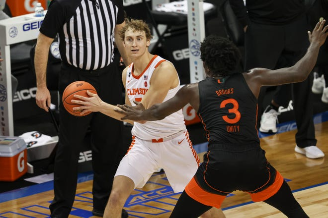 Hunter Tyson looks for a teammate Wednesday against Miami in the ACC tournament.