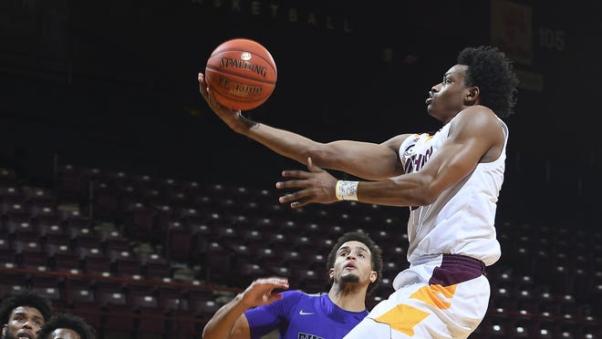 Winthrop's Adonis Arms shows that he lives up to his name with this finger roll