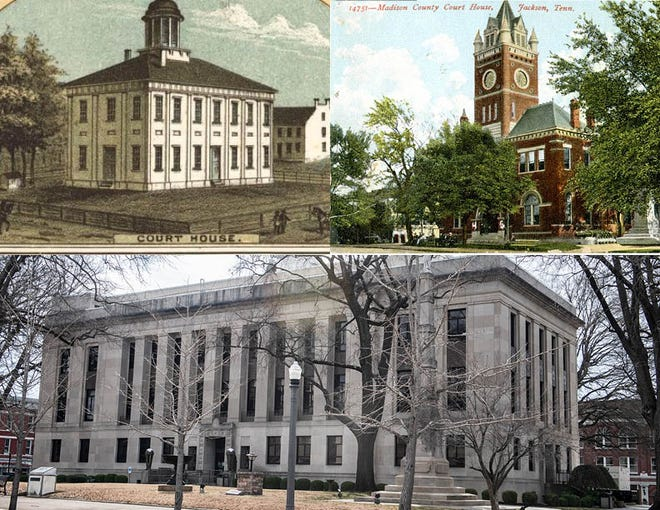This image compilation allows us to see the Madison County Courthouse transformation over the past 150 years. The top left image was taken from a map of the city of Jackson in 1870 (Library of Congress). The top right image was taken from a post card in the early 20th century (Tennessee Room at The Jackson- Madison Public Library). The bottom image was taken of current day on March 9, 2021 (The Jackson Sun) .