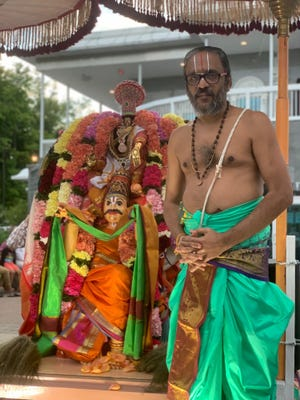 In this undated provided photo, Sri Chakrapani Reghunathan, newly announced priest at the Bharatiya Temple and Cultural Center of Greater Lafayette, stands for a photo.