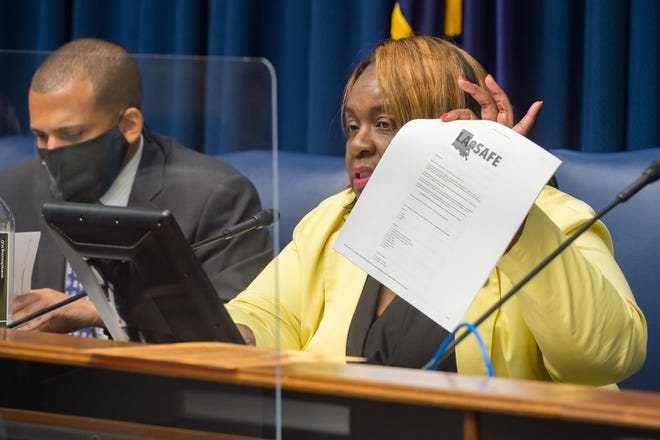 Sen. Regina Barrow, D-Baton Rouge, leads the discussion during the Senate Select Committee on Women and Children hearing at the Louisiana State Capitol on Wednesday, March 10, 2021.