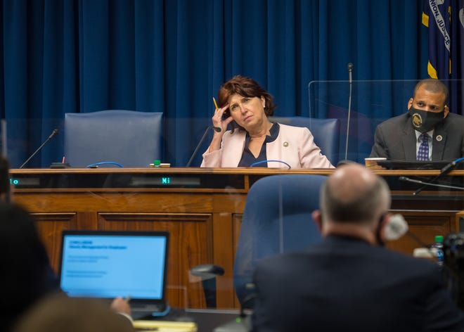 President Pro Tempore Beth Mizell reacts to comments during the Senate Select Committee on Women and Children at the Louisiana State Capitol in Baton Rouge, LA.  Wednesday, March 10, 2021.