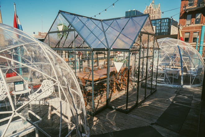 """Cafe Benelux in the Third Ward has added a """"chalet"""" to its rooftop outdoor dining, which seats 10 and allows diners to order from the restaurant's menu. It's $200 for 90 minutes, which includes a drinks package."""