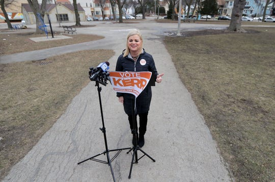 Deb Kerr, a candidate for the Wisconsin State Superintendent of Public Instruction, speaks at a news conference in Walker Square Park on South 9th Street in Milwaukee on Wednesday, March 10, 2021. Kerr announced a proposal to decentralize the State Department of Public Instruction.