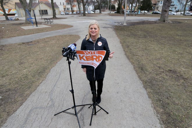 Deb Kerr, candidate for Wisconsin State Superintendent of Public Instruction, speaks during a press conference at Walker Square Park on South 9th Street in Milwaukee on Wednesday, March 10, 2021. Kerr announced a proposal to decentralize the state Department of Public Instruction.